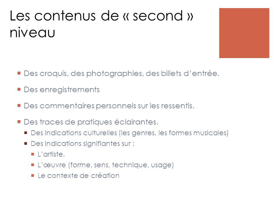 Les contenus de « second » niveau  Des croquis, des photographies, des billets d'entrée.