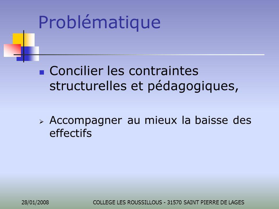 28/01/2008COLLEGE LES ROUSSILLOUS - 31570 SAINT PIERRE DE LAGES Problématique Concilier les contraintes structurelles et pédagogiques,  Accompagner a