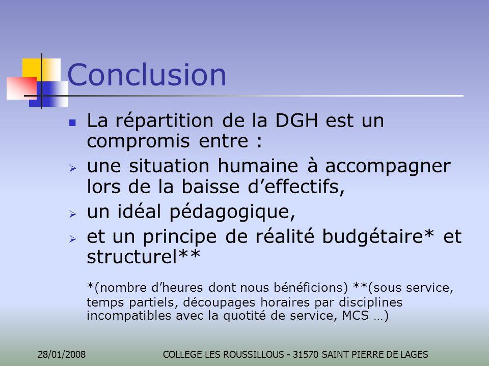 28/01/2008COLLEGE LES ROUSSILLOUS - 31570 SAINT PIERRE DE LAGES Conclusion La répartition de la DGH est un compromis entre :  une situation humaine à