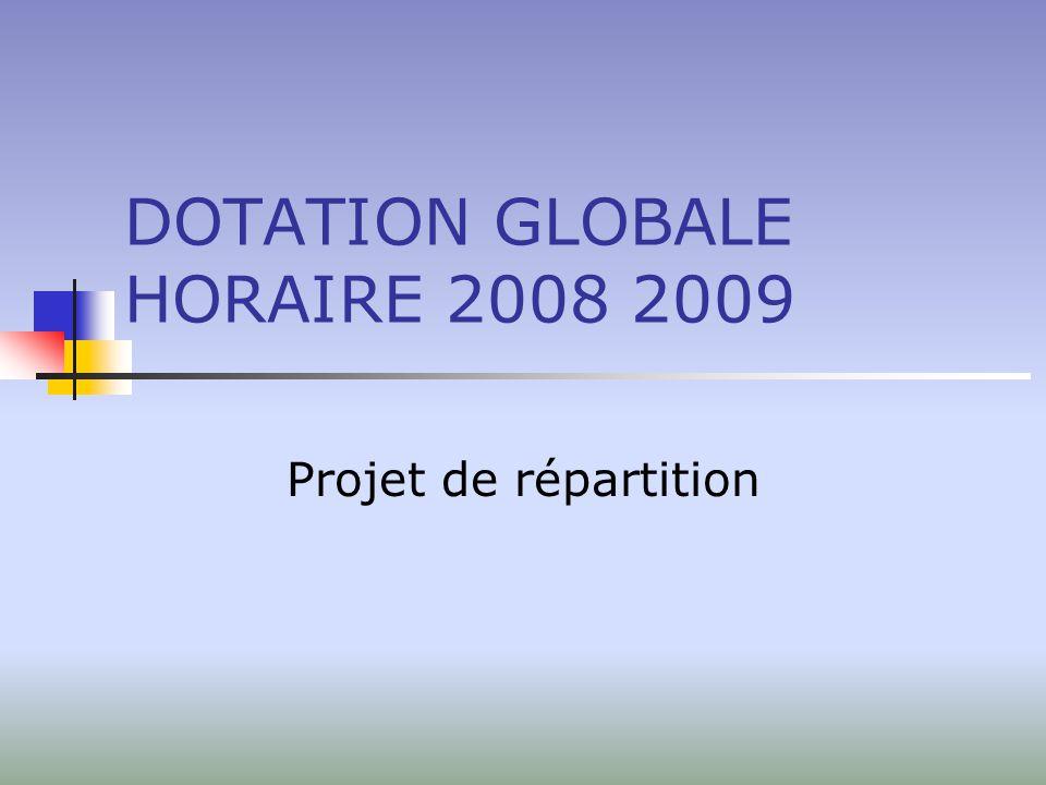 DOTATION GLOBALE HORAIRE 2008 2009 Projet de répartition