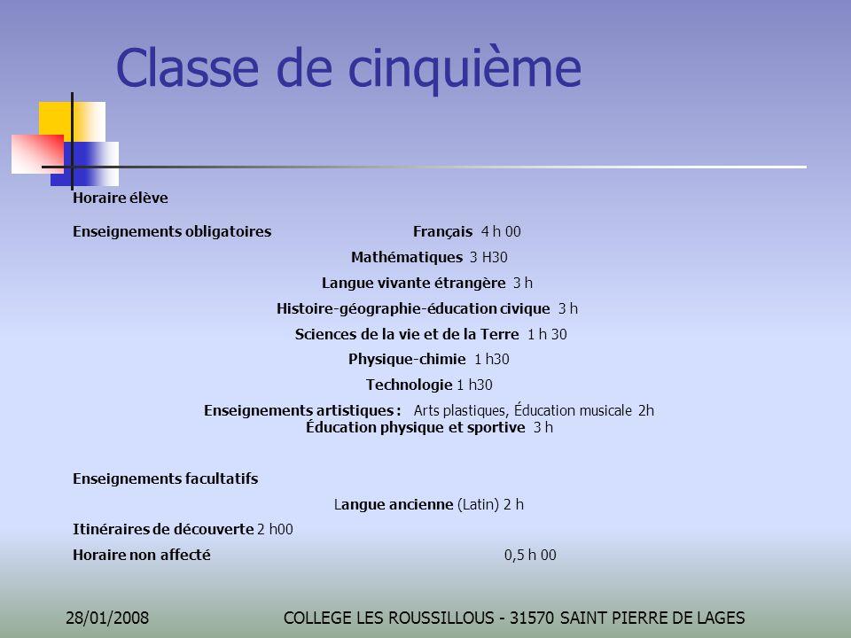 28/01/2008COLLEGE LES ROUSSILLOUS - 31570 SAINT PIERRE DE LAGES Classe de cinquième Horaire élève Enseignements obligatoires Français 4 h 00 Mathémati