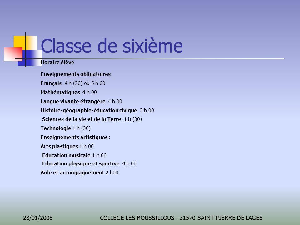 28/01/2008COLLEGE LES ROUSSILLOUS - 31570 SAINT PIERRE DE LAGES Classe de sixième Horaire élève Enseignements obligatoires Français 4 h (30) ou 5 h 00