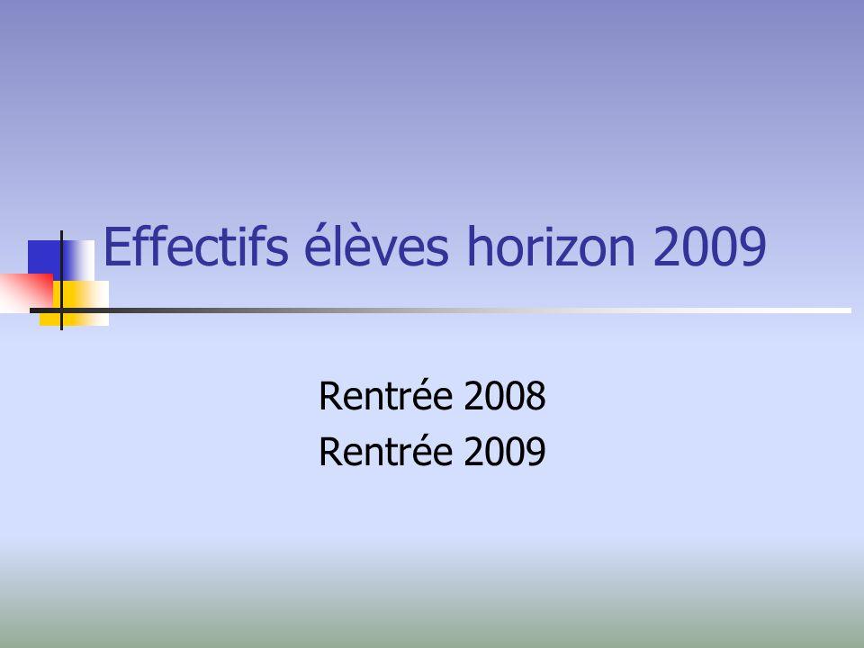 Effectifs élèves horizon 2009 Rentrée 2008 Rentrée 2009
