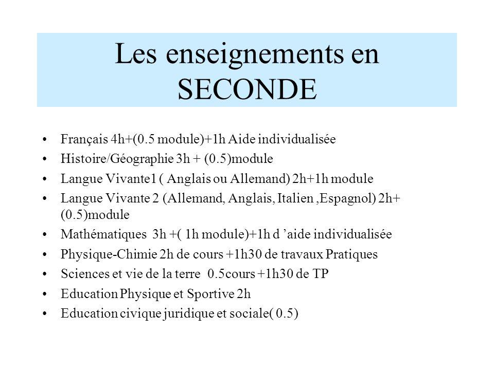 Les enseignements en SECONDE Français 4h+(0.5 module)+1h Aide individualisée Histoire/Géographie 3h + (0.5)module Langue Vivante1 ( Anglais ou Alleman
