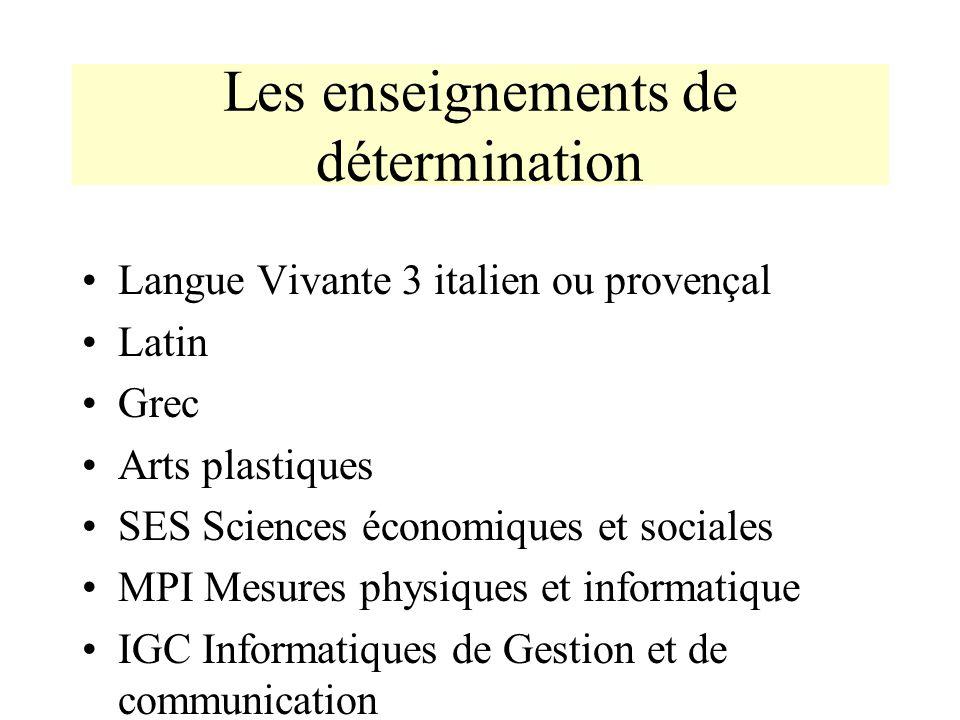 Les enseignements de détermination Langue Vivante 3 italien ou provençal Latin Grec Arts plastiques SES Sciences économiques et sociales MPI Mesures p