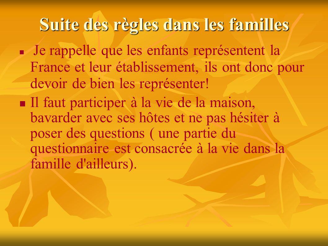 Suite des règles dans les familles Je rappelle que les enfants représentent la France et leur établissement, ils ont donc pour devoir de bien les représenter.