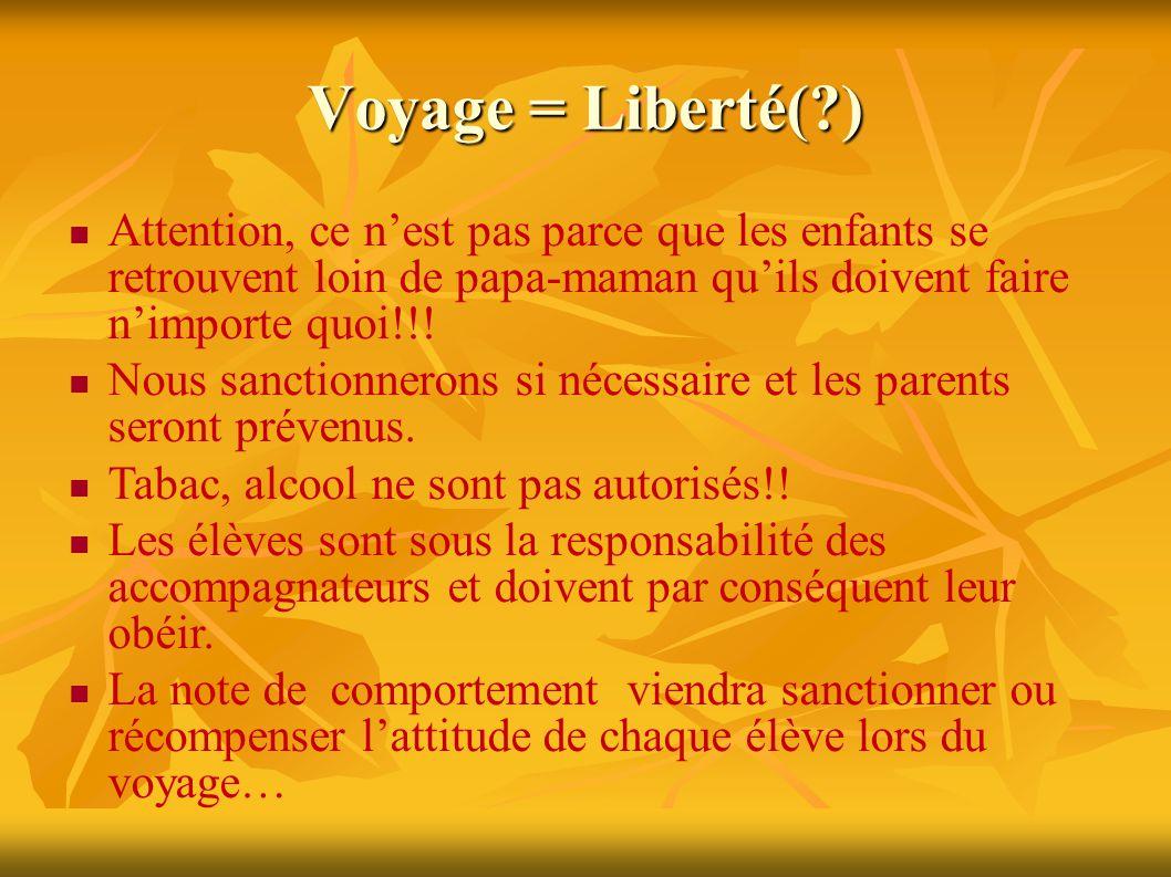 Voyage = Liberté( ) Attention, ce n'est pas parce que les enfants se retrouvent loin de papa-maman qu'ils doivent faire n'importe quoi!!.