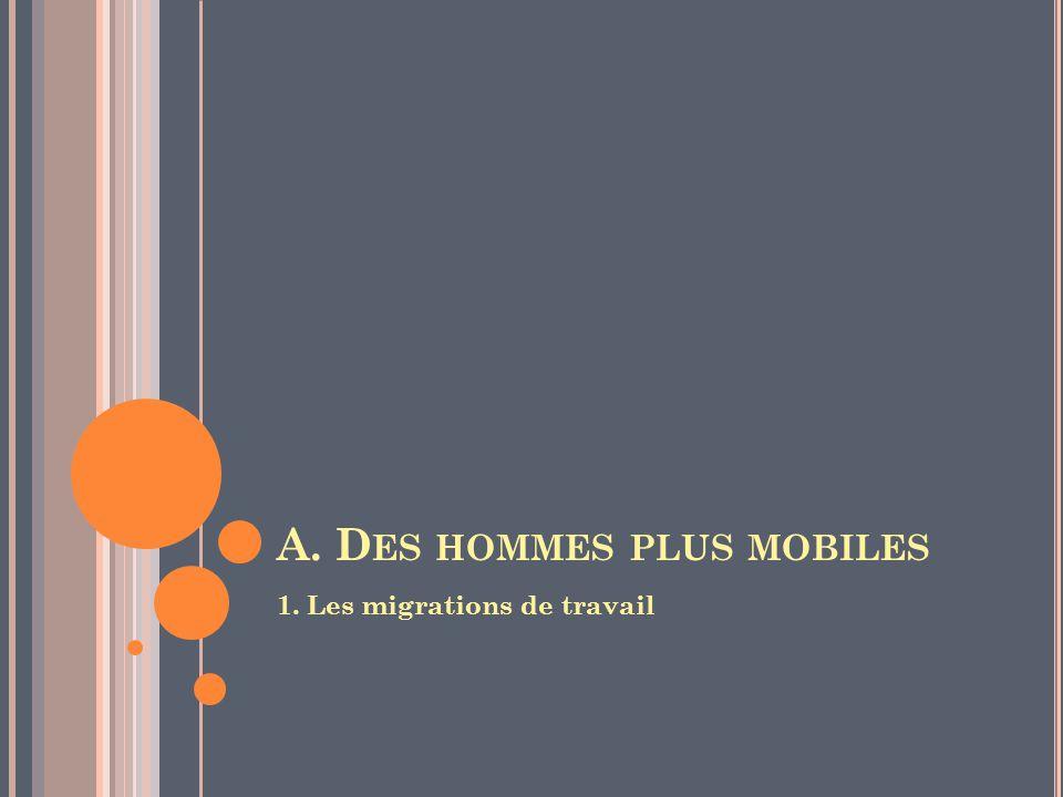 A. D ES HOMMES PLUS MOBILES 1. Les migrations de travail