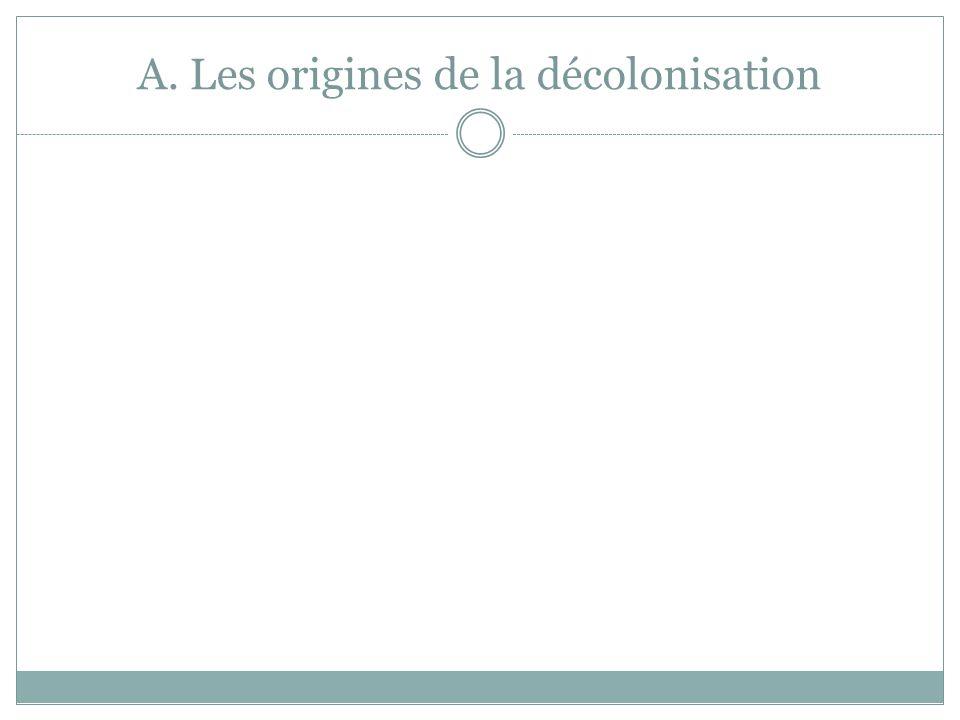 Algérie, colonie de peuplement de la France ( conquise en 1830) : 1 million de « Français » / 9 millions d'Algériens De fortes inégalités entre musulmans et « Français » La France refuse toute amélioration au profit des musulmans  début de la lutte armée par les nationalistes algériens du FLN ( Front de Libération National) Les « évènements d'Algérie » ( l'Etat français parle ainsi de la guerre en Algérie) commencent en 1954 avec les attentats de la Toussaint