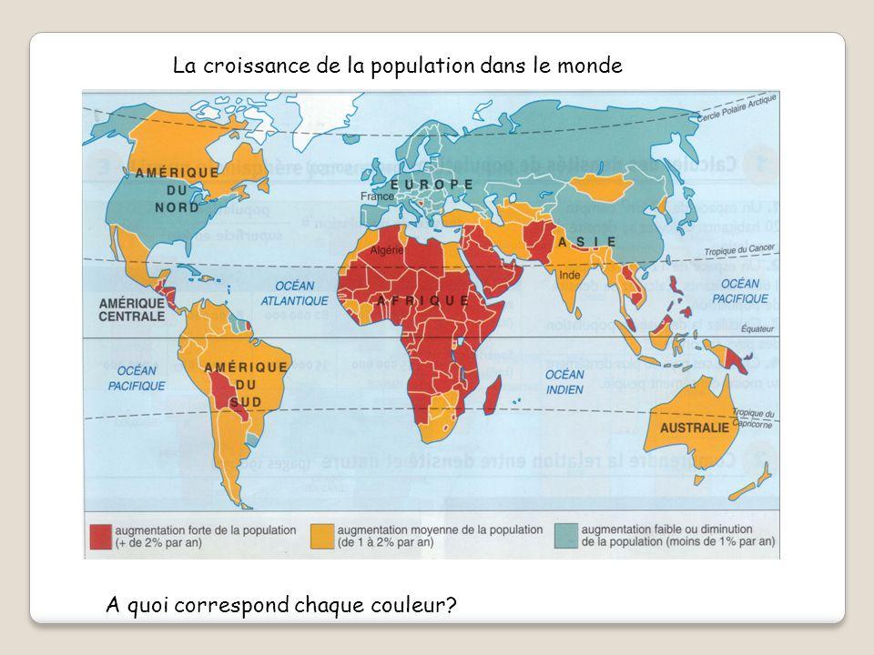La croissance de la population dans le monde A quoi correspond chaque couleur?