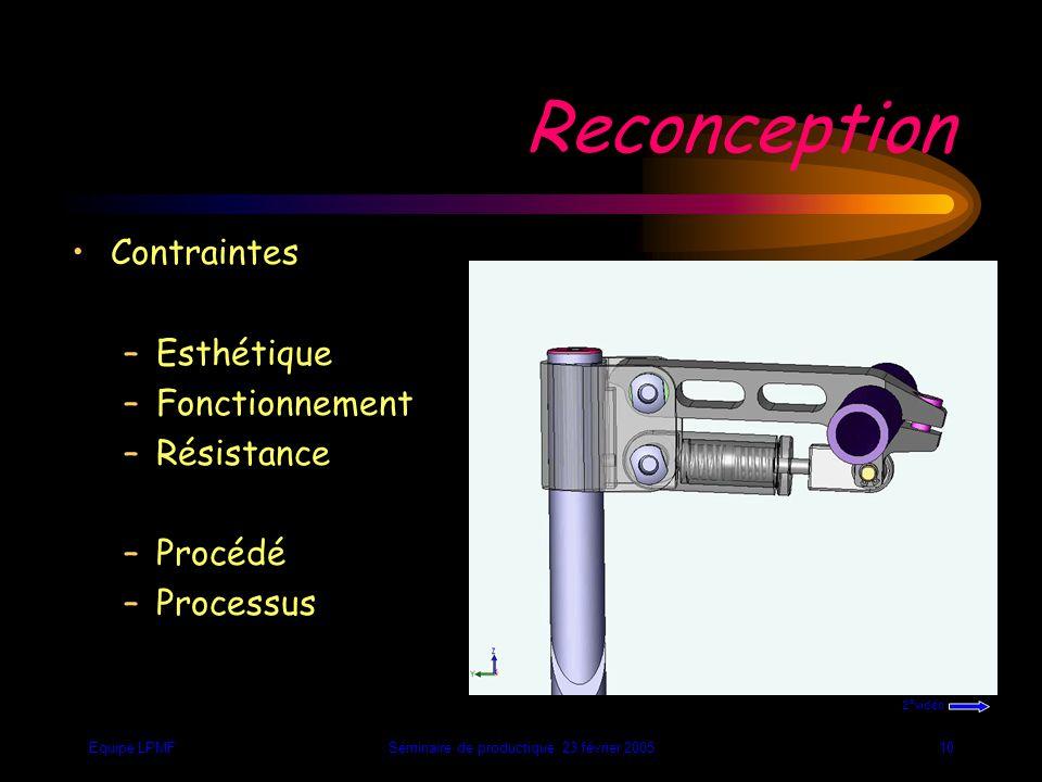 Equipe LPMFSéminaire de productique 23 février 20059 Contraintes de pré- industrialisation - Nombre de phases - Directions d'usinages - Nombre de posages - Temps de fabrication