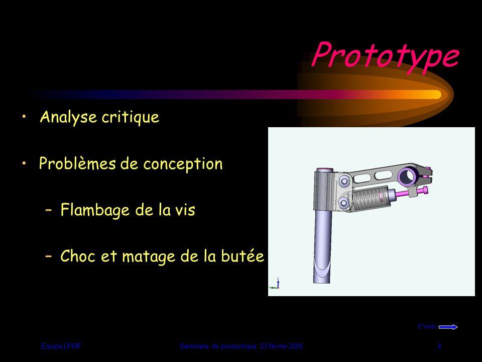 Equipe LPMFSéminaire de productique 23 février 20054 Prototype Analyse critique Problèmes de conception –Flambage de la vis –Choc et matage de la butée 2°vidéo