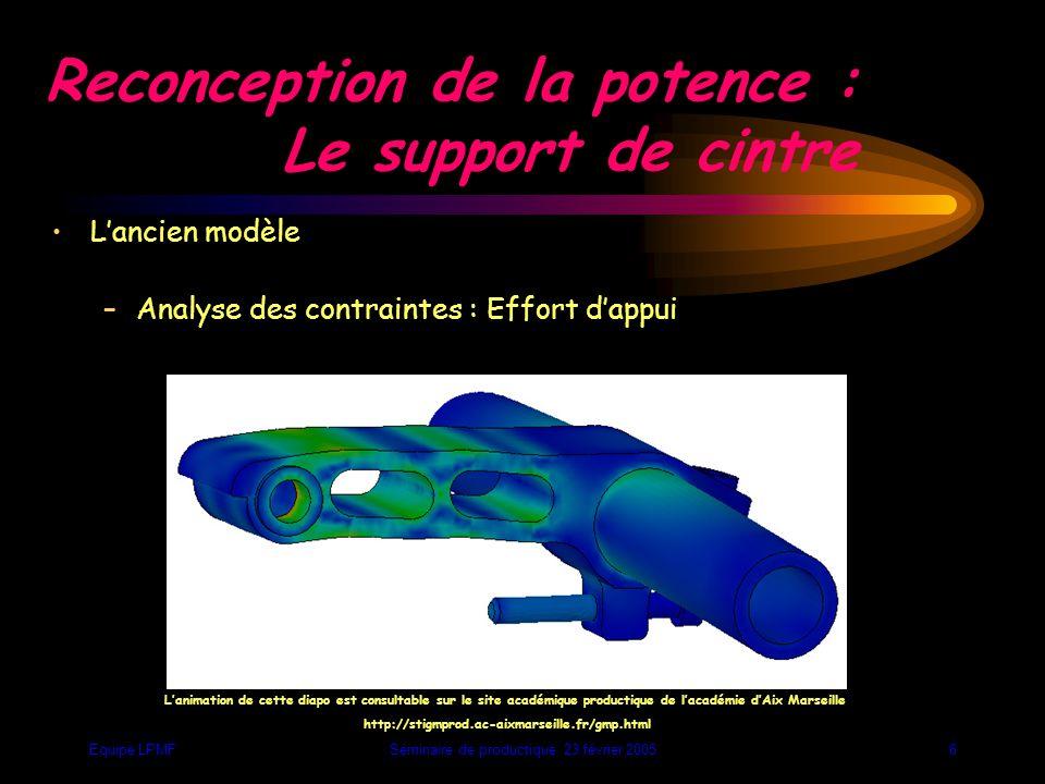 Equipe LPMFSéminaire de productique 23 février 200516 Analyse des efforts : Retour élastique ou traction sur le cintre Action excessive sur la butée arrière Traction sur le guidon