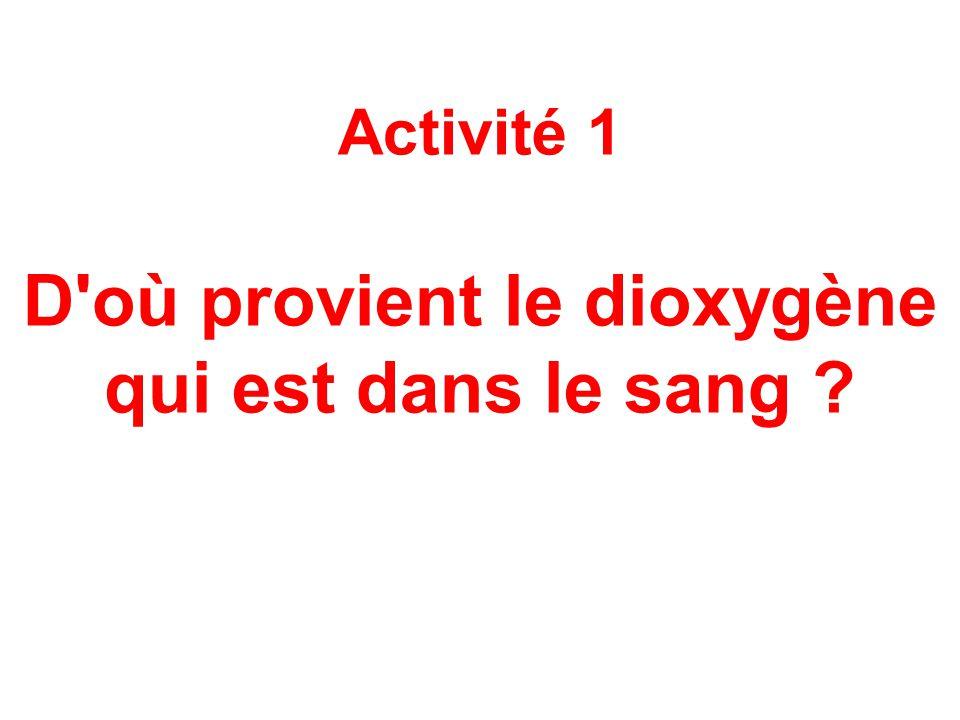 Activité 1 D où provient le dioxygène qui est dans le sang ?