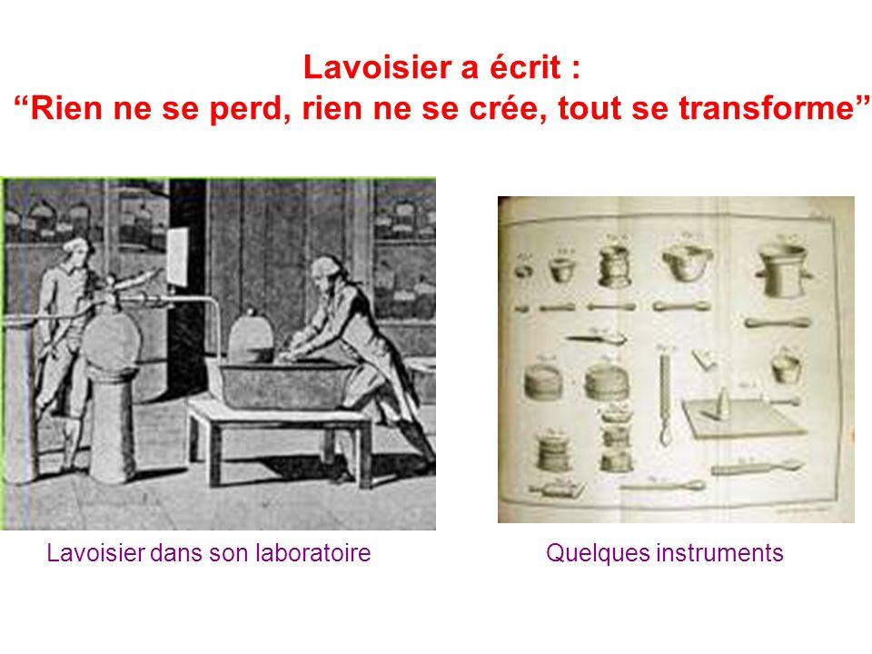 """Lavoisier a écrit : """"Rien ne se perd, rien ne se crée, tout se transforme"""" Lavoisier dans son laboratoireQuelques instruments"""