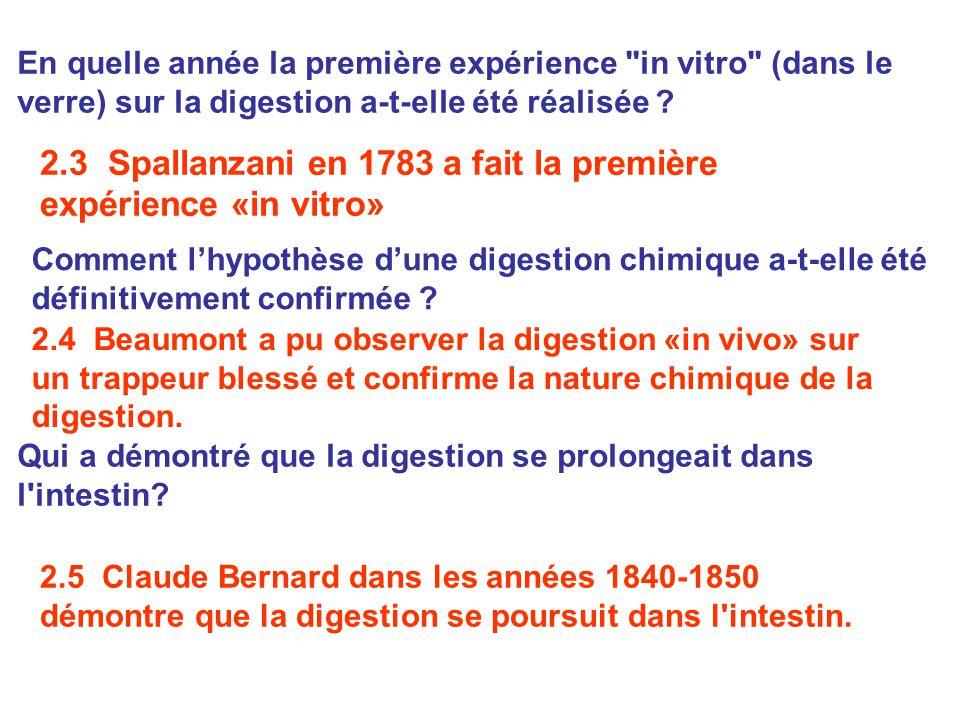 2.4 Beaumont a pu observer la digestion «in vivo» sur un trappeur blessé et confirme la nature chimique de la digestion. En quelle année la première e