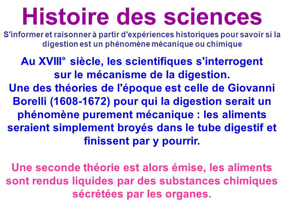 S'informer et raisonner à partir d'expériences historiques pour savoir si la digestion est un phénomène mécanique ou chimique Au XVIII° siècle, les sc
