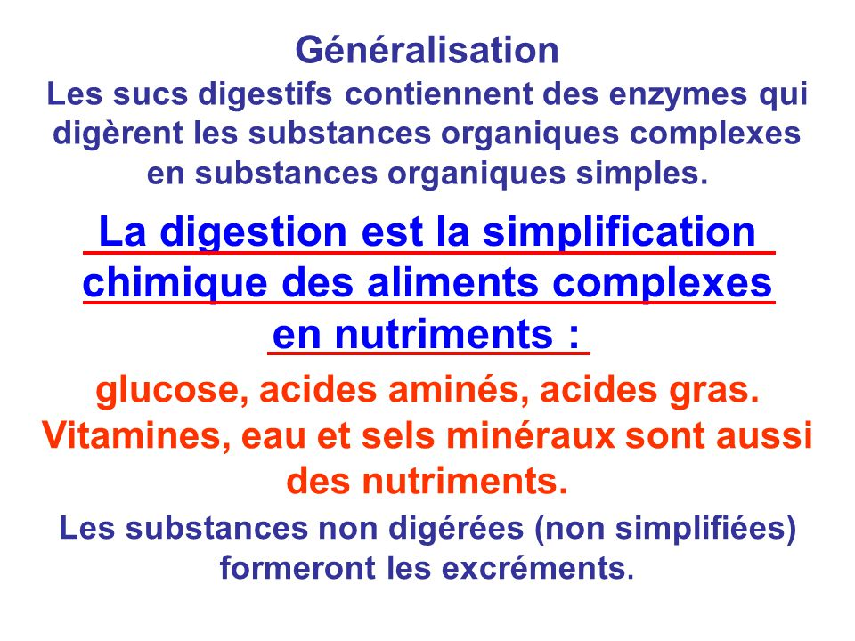 glucose, acides aminés, acides gras. Vitamines, eau et sels minéraux sont aussi des nutriments. Généralisation Les sucs digestifs contiennent des enzy
