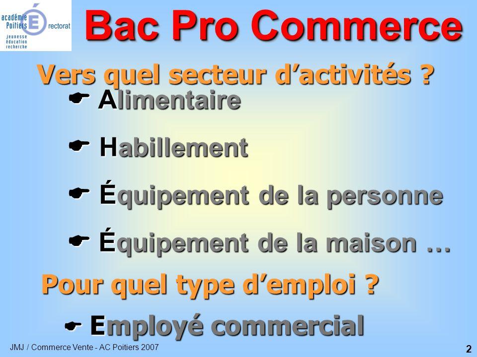 JMJ / Commerce Vente - AC Poitiers 2007 3 Une formation qui allie enseignement général et professionnel Bac Pro Commerce Enseignement Technologique et professionnel 34 % Période de Formation en Milieu Professionnel 26 % Enseignement général 40 %