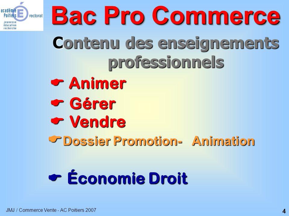JMJ / Commerce Vente - AC Poitiers 2007 5 Animer  Organiser l'offre produit Bac Pro Commerce  Participer aux opérations de promotion  Participer aux actions d'animation
