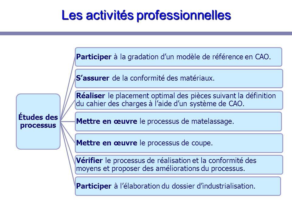 Les activités professionnelles Réalisation en tout ou partie du processus de fabrication.