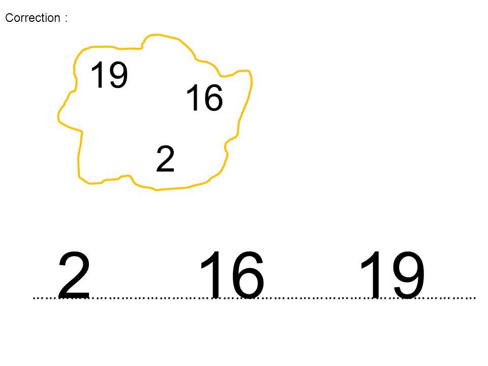 19 16 2 …………………………………………………………………………………………… 2 16 19 Correction :