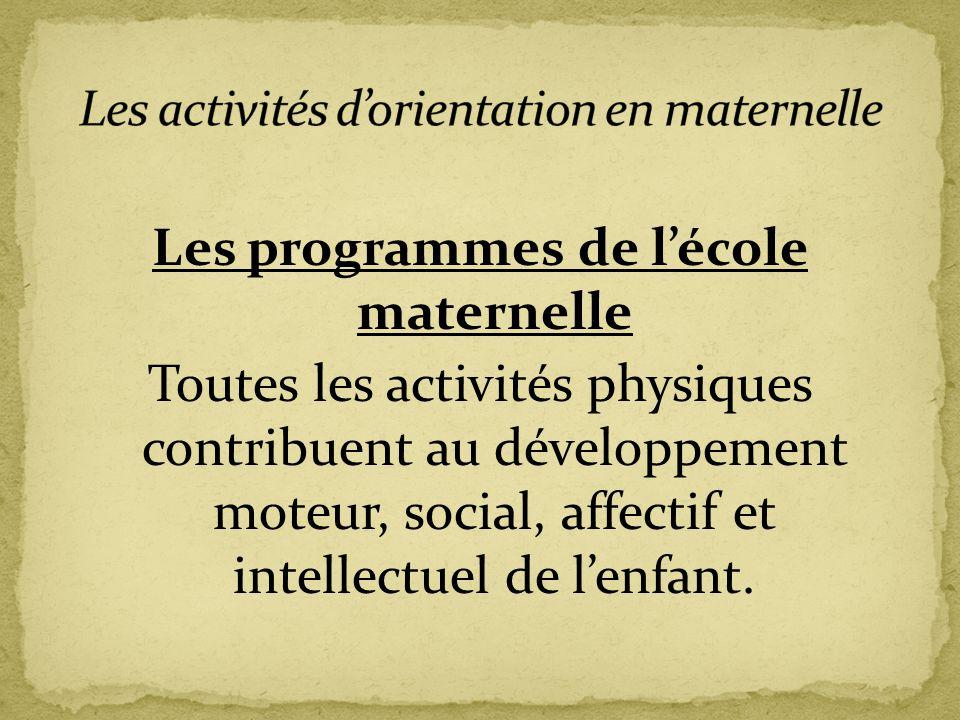 Les programmes de l'école maternelle Toutes les activités physiques contribuent au développement moteur, social, affectif et intellectuel de l'enfant.