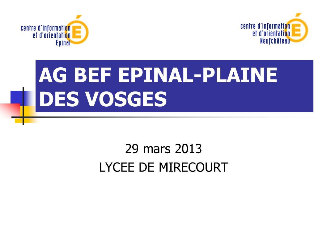 AG BEF EPINAL-PLAINE DES VOSGES 29 mars 2013 LYCEE DE MIRECOURT