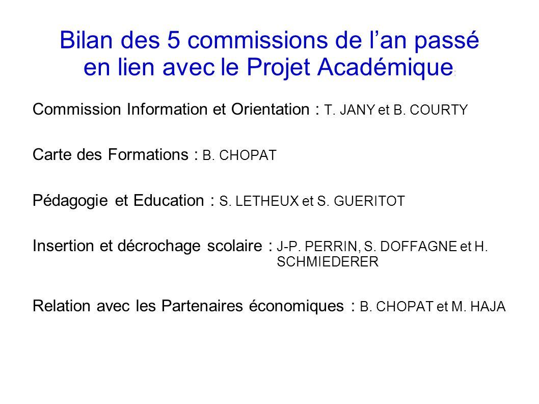 Bilan des 5 commissions de l'an passé en lien avec le Projet Académique : Commission Information et Orientation : T.