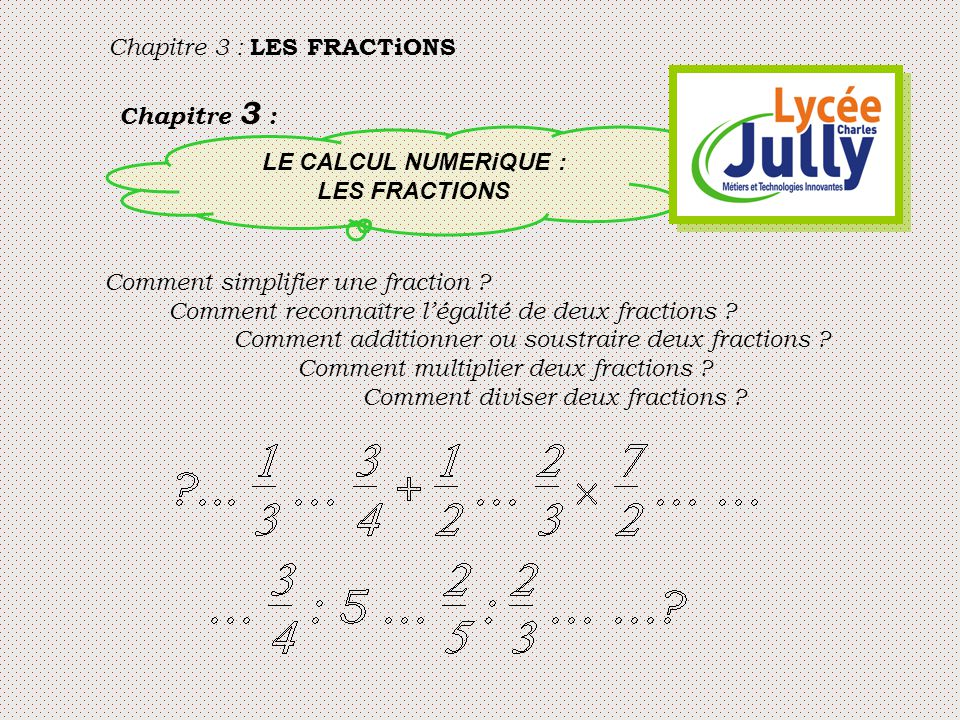 Chapitre 3 : LE CALCUL NUMERiQUE : LES FRACTIONS Comment simplifier une fraction ? Comment reconnaître l'égalité de deux fractions ? Comment additionn