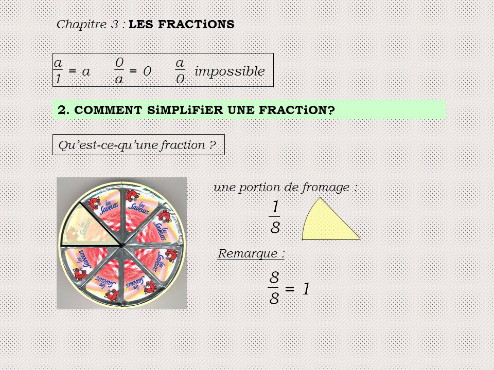 Chapitre 3 : LES FRACTiONS a 1 = a 0 a = 0 a 0 impossible 2. COMMENT SiMPLiFiER UNE FRACTiON? Qu'est-ce-qu'une fraction ? une portion de fromage : Rem