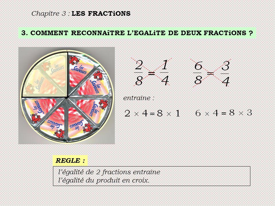 3. COMMENT RECONNAîTRE L'EGALiTE DE DEUX FRACTiONS ? Chapitre 3 : LES FRACTiONS entraîne : = = l'égalité de 2 fractions entraîne l'égalité du produit