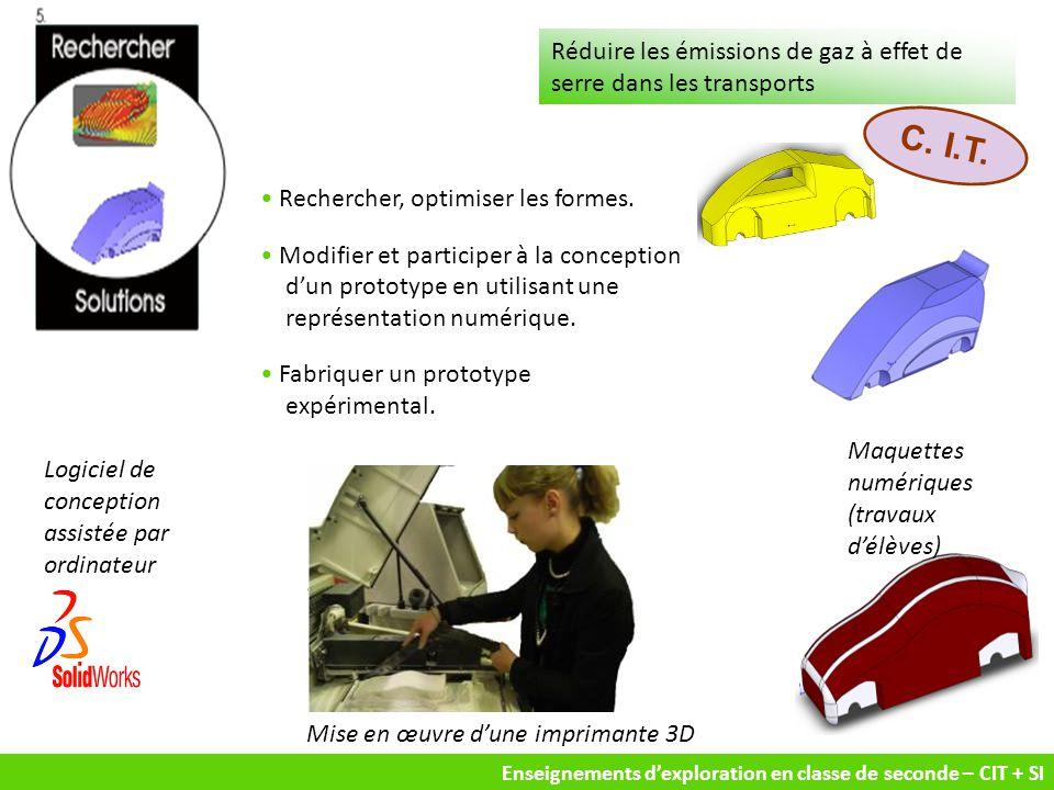 Enseignements d'exploration en classe de seconde – CIT + SI Rechercher, optimiser les formes. Modifier et participer à la conception d'un prototype en