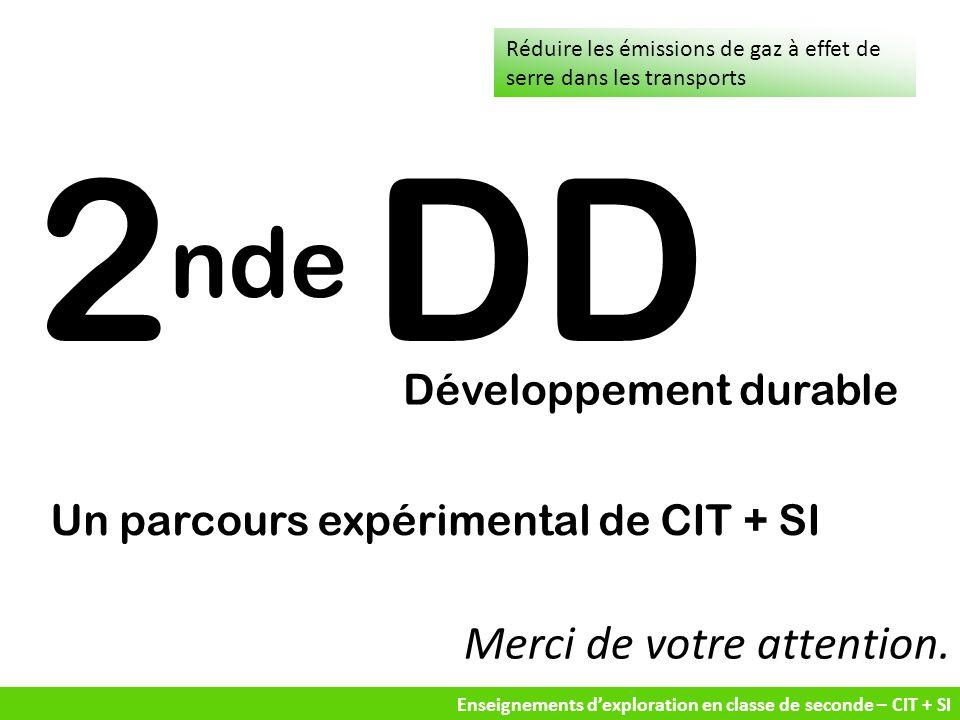 Enseignements d'exploration en classe de seconde – CIT + SI Merci de votre attention. Réduire les émissions de gaz à effet de serre dans les transport