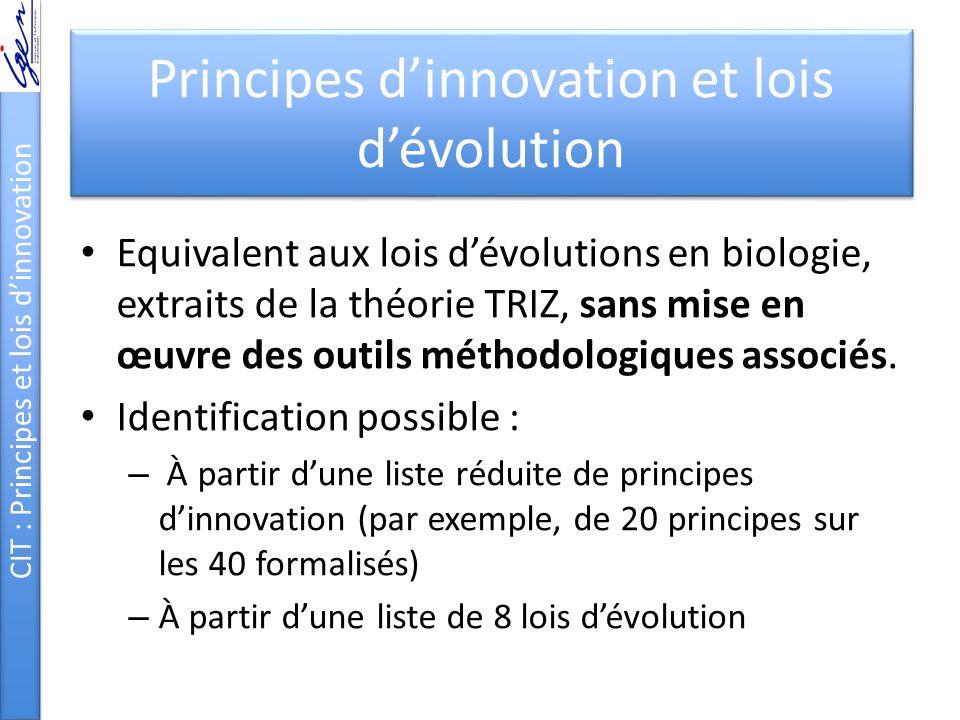 Principes d'innovation et lois d'évolution Equivalent aux lois d'évolutions en biologie, extraits de la théorie TRIZ, sans mise en œuvre des outils mé