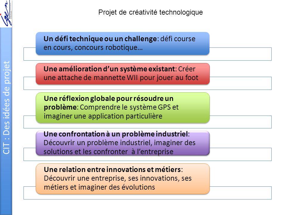 CIT : Des idées de projet Un défi technique ou un challenge: défi course en cours, concours robotique… Une amélioration d'un système existant: Créer u