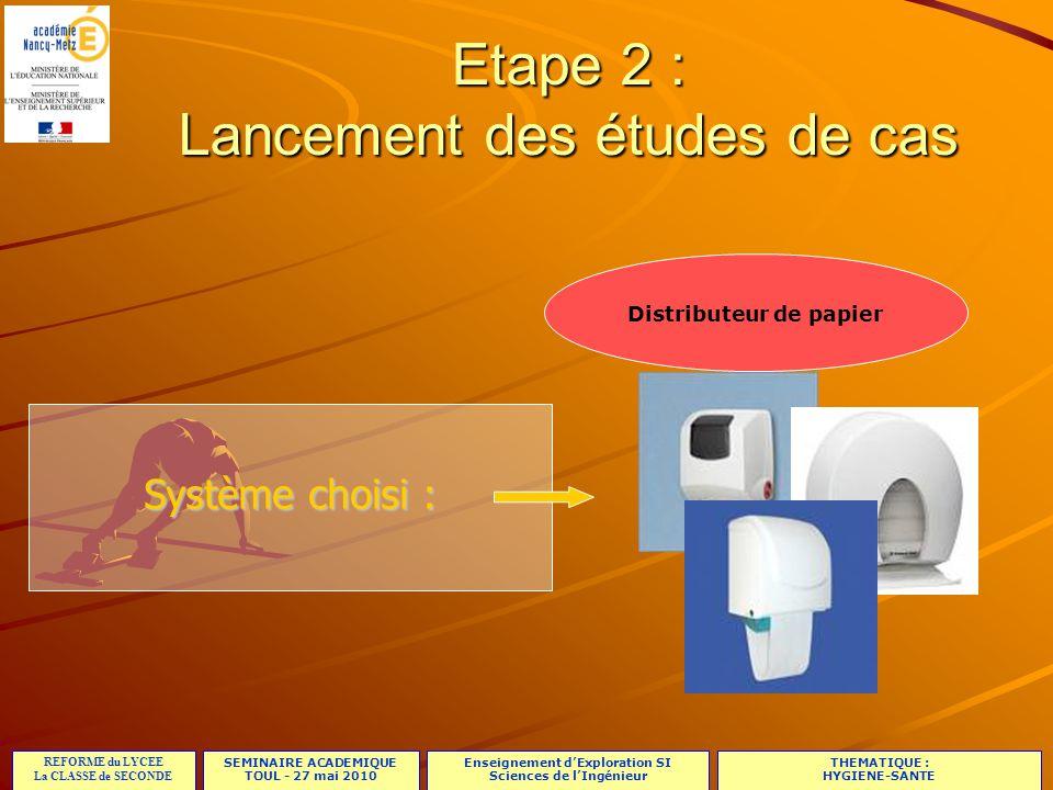 SEMINAIRE ACADEMIQUE TOUL - 27 mai 2010 REFORME du LYCEE La CLASSE de SECONDE Enseignement d'Exploration SI Sciences de l'Ingénieur THEMATIQUE : HYGIENE-SANTE 17/23 Etape 2 : Lancement des études de cas Distributeur de papier Système choisi :