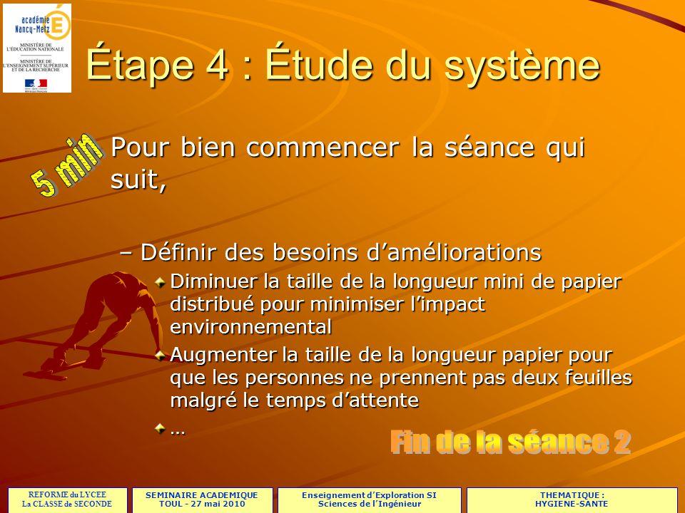 SEMINAIRE ACADEMIQUE TOUL - 27 mai 2010 REFORME du LYCEE La CLASSE de SECONDE Enseignement d'Exploration SI Sciences de l'Ingénieur THEMATIQUE : HYGIENE-SANTE 21/23 Étape 4 : Étude du système Pour bien commencer la séance qui suit, –Définir des besoins d'améliorations Diminuer la taille de la longueur mini de papier distribué pour minimiser l'impact environnemental Augmenter la taille de la longueur papier pour que les personnes ne prennent pas deux feuilles malgré le temps d'attente … CHOIX des Problématiques