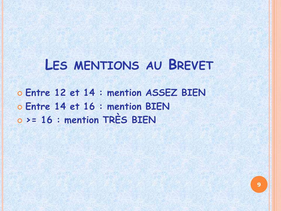L ES MENTIONS AU B REVET Entre 12 et 14 : mention ASSEZ BIEN Entre 14 et 16 : mention BIEN >= 16 : mention TRÈS BIEN 9