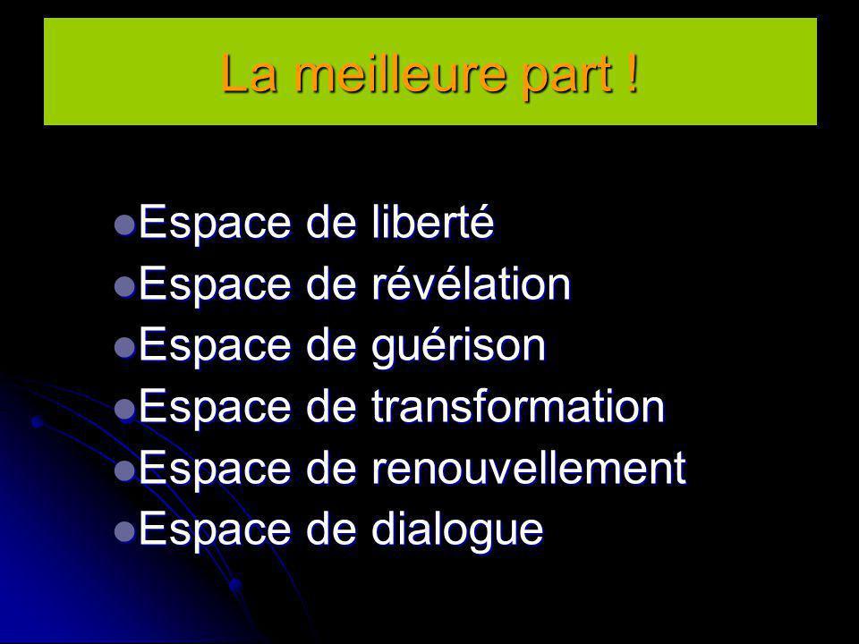 La meilleure part ! Espace de liberté Espace de liberté Espace de révélation Espace de révélation Espace de guérison Espace de guérison Espace de tran