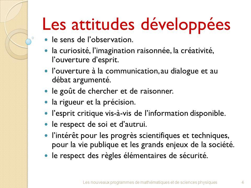 Les attitudes développées le sens de l'observation.
