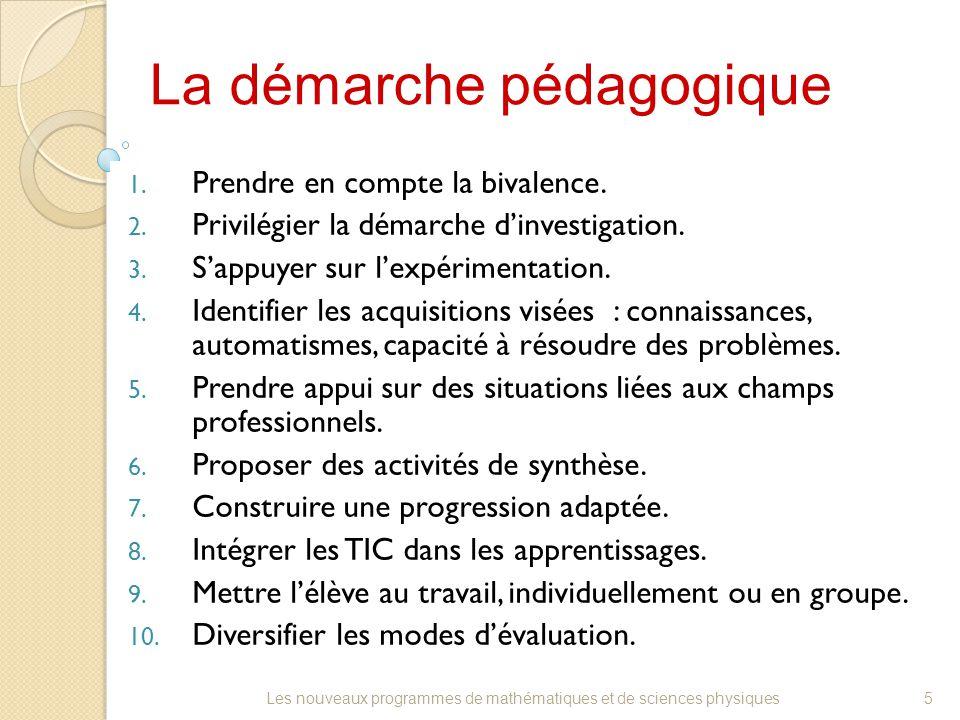 La démarche pédagogique 1. Prendre en compte la bivalence. 2. Privilégier la démarche d'investigation. 3. S'appuyer sur l'expérimentation. 4. Identifi