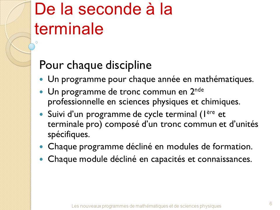 De la seconde à la terminale Pour chaque discipline Un programme pour chaque année en mathématiques.