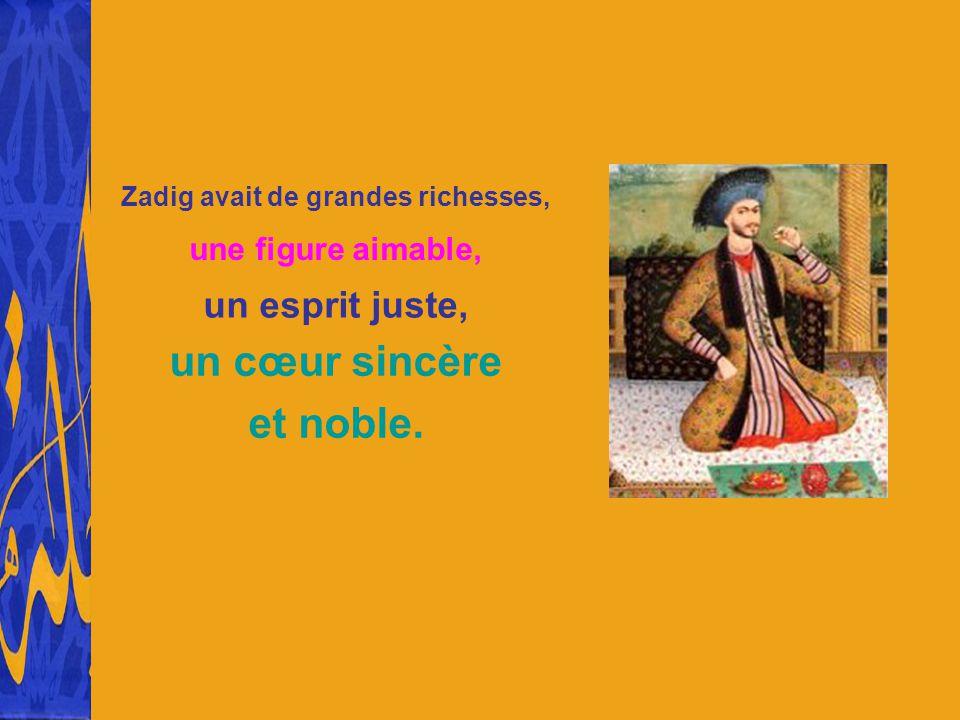 Zadig avait de grandes richesses, une figure aimable, un esprit juste, un cœur sincère et noble.