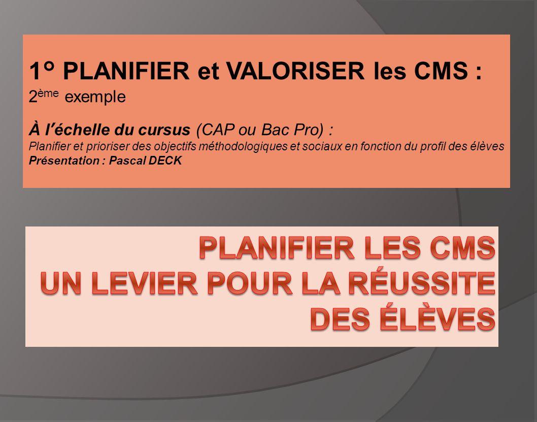 1° PLANIFIER et VALORISER les CMS : 2 ème exemple À l'échelle du cursus (CAP ou Bac Pro) : Planifier et prioriser des objectifs méthodologiques et soc
