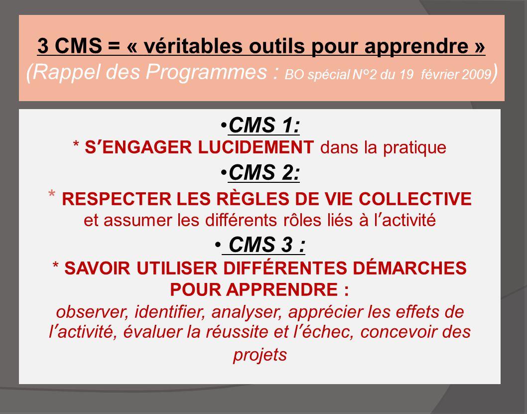 3 CMS = « véritables outils pour apprendre » (Rappel des Programmes : BO spécial N°2 du 19 février 2009 ) CMS 1: * S'ENGAGER LUCIDEMENT dans la pratiq