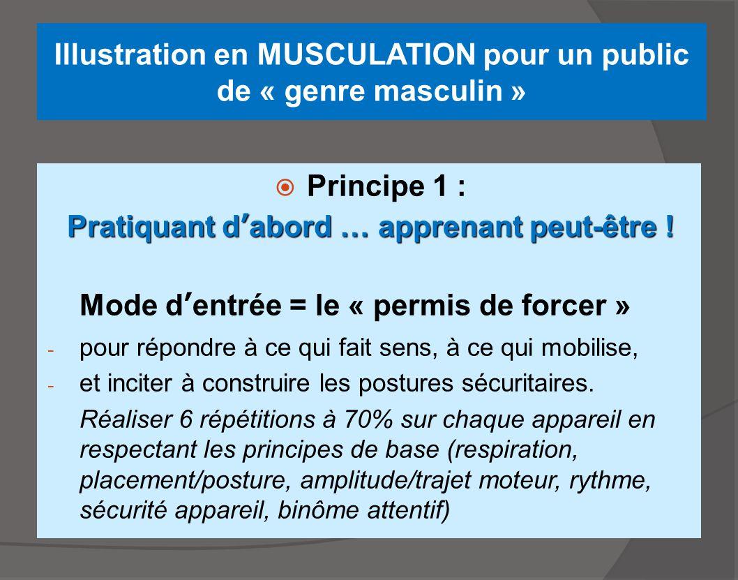 Illustration en MUSCULATION pour un public de « genre masculin »  Principe 1 : Pratiquant d'abord … apprenant peut-être ! Mode d'entrée = le « permis