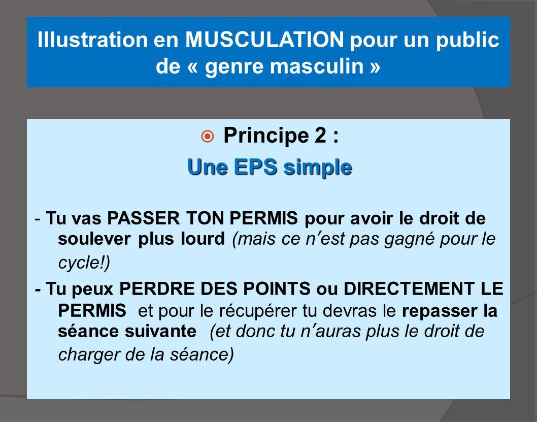 Illustration en MUSCULATION pour un public de « genre masculin »  Principe 2 : Une EPS simple - Tu vas PASSER TON PERMIS pour avoir le droit de soule