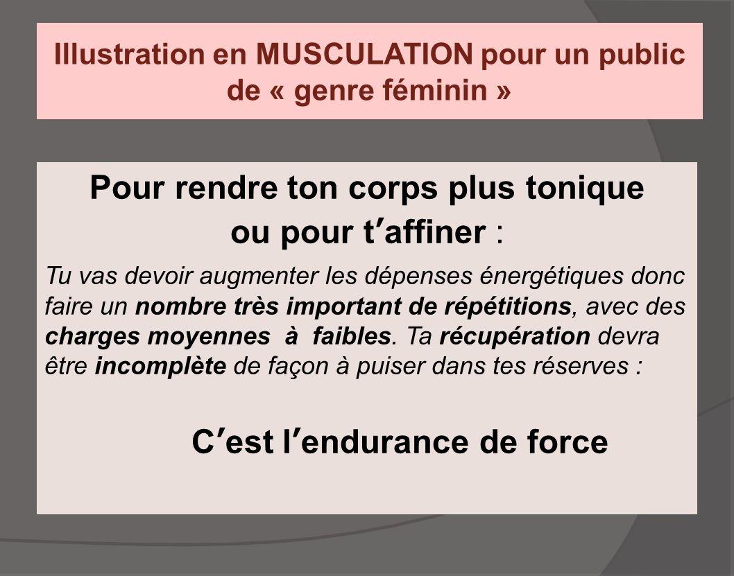 Illustration en MUSCULATION pour un public de « genre féminin » Pour rendre ton corps plus tonique ou pour t'affiner : Tu vas devoir augmenter les dép