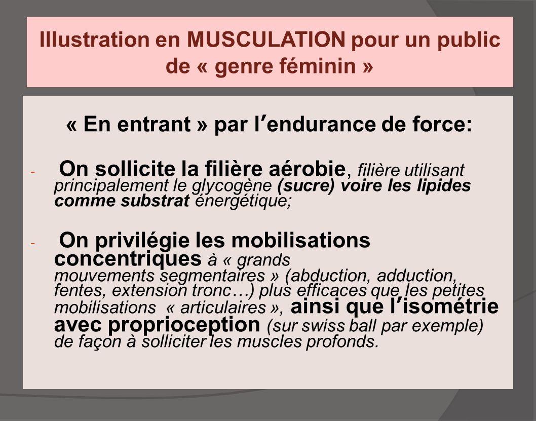 Illustration en MUSCULATION pour un public de « genre féminin » « En entrant » par l'endurance de force: - On sollicite la filière aérobie, filière ut
